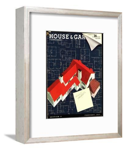 House & Garden Cover - February 1937-Robert Harrer-Framed Art Print
