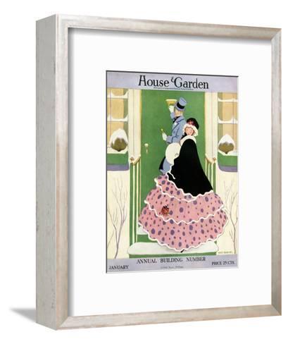 House & Garden Cover - January 1916-L. M. Hubert-Framed Art Print