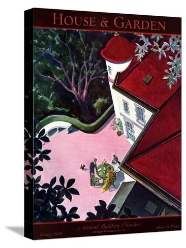 House & Garden Cover - January 1930-Walter Buehr-Stretched Canvas Print