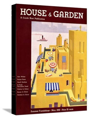 House & Garden Cover - May 1932-Bates Gilbert-Stretched Canvas Print