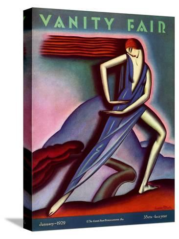 Vanity Fair Cover - January 1929-Symeon Shimin-Stretched Canvas Print