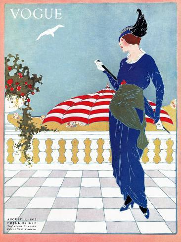 Vogue Cover - August 1913-Will Hammell-Stretched Canvas Print