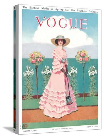 Vogue Cover - January 1912-Mrs. Newell Tilton-Stretched Canvas Print