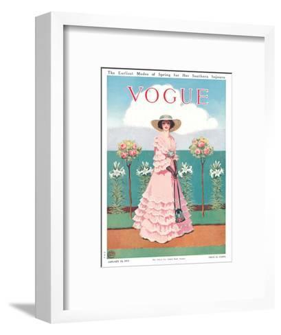 Vogue Cover - January 1912-Mrs. Newell Tilton-Framed Art Print