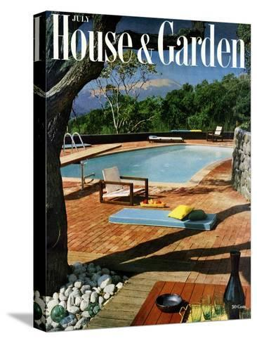 House & Garden Cover - July 1957-Georges Braun-Stretched Canvas Print