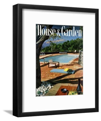 House & Garden Cover - July 1957-Georges Braun-Framed Art Print