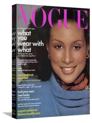 Vogue Cover - August 1974-Francesco Scavullo-Stretched Canvas Print