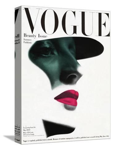 Vogue Cover - May 1945 - In the Shade-Erwin Blumenfeld-Stretched Canvas Print