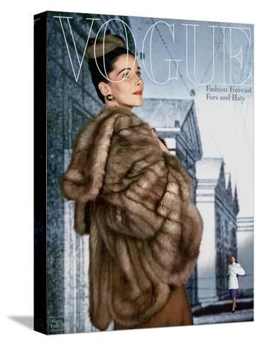 Vogue Cover - August 1945-John Rawlings-Stretched Canvas Print