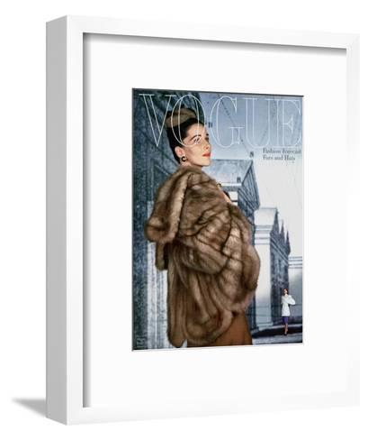 Vogue Cover - August 1945-John Rawlings-Framed Art Print