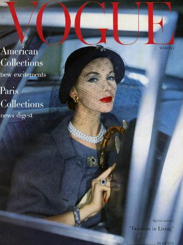 Vogue Cover - March 1957-Clifford Coffin-Stretched Canvas Print