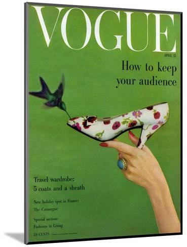 Vogue Cover - April 1957-Richard Rutledge-Mounted Premium Giclee Print