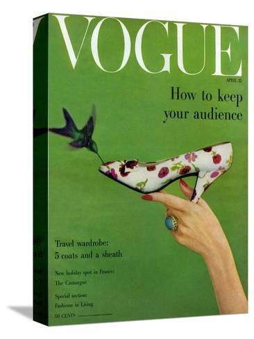 Vogue Cover - April 1957-Richard Rutledge-Stretched Canvas Print