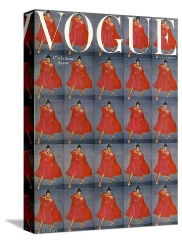 Vogue Cover - December 1954-Clifford Coffin-Stretched Canvas Print