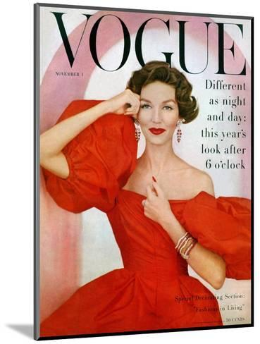 Vogue Cover - November 1956-Richard Rutledge-Mounted Premium Giclee Print