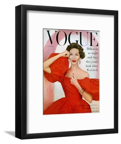 Vogue Cover - November 1956-Richard Rutledge-Framed Art Print