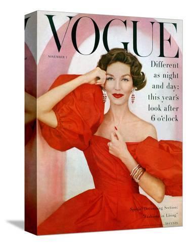 Vogue Cover - November 1956-Richard Rutledge-Stretched Canvas Print