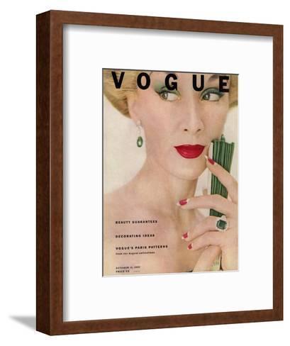 Vogue Cover - October 1951-Clifford Coffin-Framed Art Print