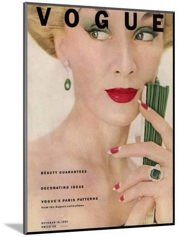Vogue Cover - October 1951-Clifford Coffin-Mounted Premium Giclee Print