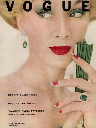 Vogue Cover - October 1951-Clifford Coffin-Stretched Canvas Print