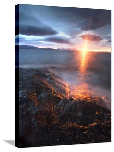 Midnight Sun over Vågsfjorden, Skånland, Troms County, Norway-Stocktrek Images-Stretched Canvas Print