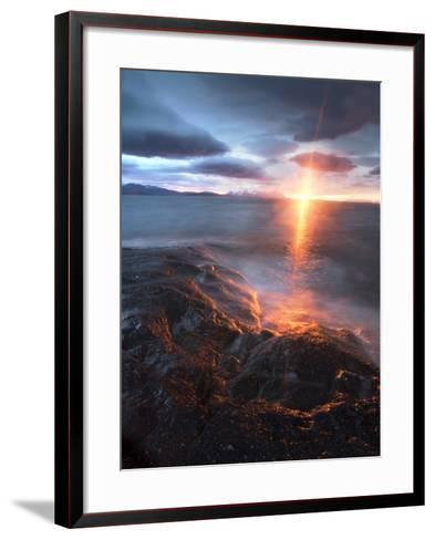 Midnight Sun over Vågsfjorden, Skånland, Troms County, Norway-Stocktrek Images-Framed Art Print