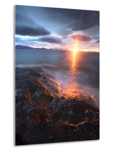 Midnight Sun over Vågsfjorden, Skånland, Troms County, Norway-Stocktrek Images-Metal Print