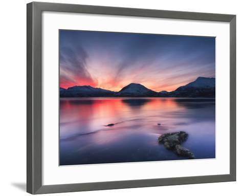 Sunset over Tjeldsundet, Troms County, Norway-Stocktrek Images-Framed Art Print