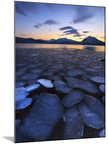 Ice Flakes Drifting Towards the Mountains on Tjeldoya Island, Norway-Stocktrek Images-Mounted Photographic Print