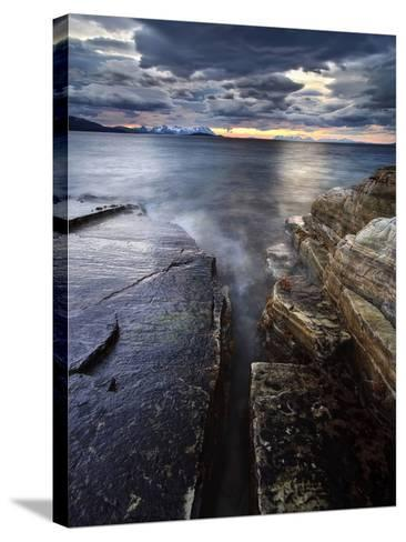 Midnight Sun over Vagsfjorden in Troms County, Norway-Stocktrek Images-Stretched Canvas Print