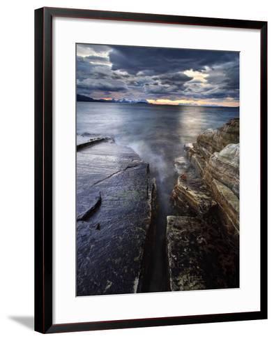 Midnight Sun over Vagsfjorden in Troms County, Norway-Stocktrek Images-Framed Art Print