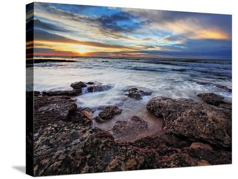 A Seascape at Sunrise from Miramar, Argentina-Stocktrek Images-Stretched Canvas Print