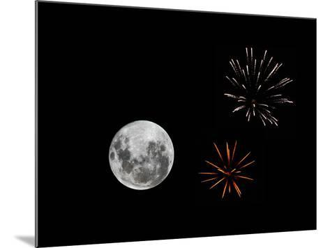 A Composite Image with Fireworks and a New Moon-Stocktrek Images-Mounted Photographic Print
