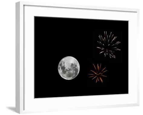 A Composite Image with Fireworks and a New Moon-Stocktrek Images-Framed Art Print