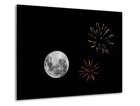A Composite Image with Fireworks and a New Moon-Stocktrek Images-Metal Print