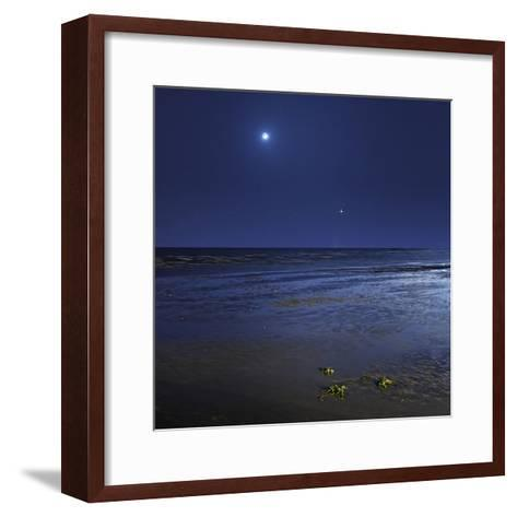 Venus Shines Brightly Below the Crescent Moon from Coast of Buenos Aires, Argentina-Stocktrek Images-Framed Art Print