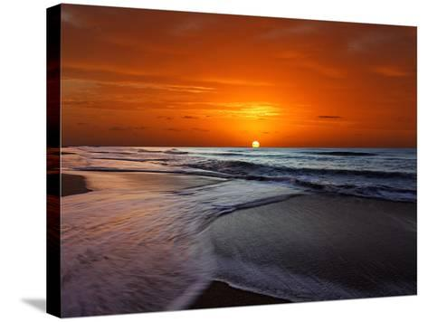 Two Crossing Waves at Sunrise in Miramar, Argentina-Stocktrek Images-Stretched Canvas Print