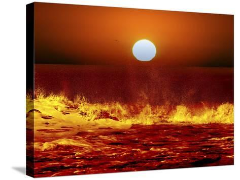 The Sun and Ocean Waves in Miramar, Argentina-Stocktrek Images-Stretched Canvas Print