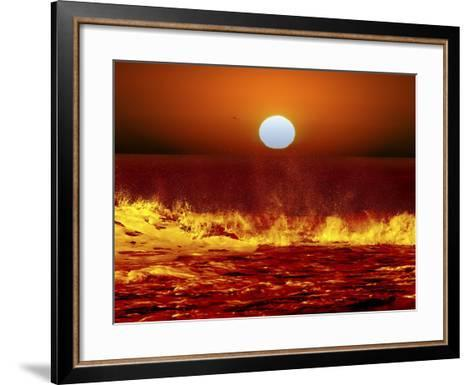 The Sun and Ocean Waves in Miramar, Argentina-Stocktrek Images-Framed Art Print