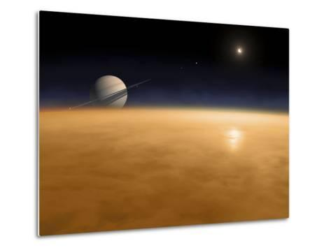 Saturn Above the Thick Atmosphere of its Moon Titan-Stocktrek Images-Metal Print