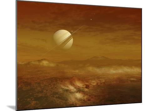 Saturn Above the Thick Atmosphere of its Moon Titan-Stocktrek Images-Mounted Photographic Print