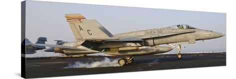 An F/A-18 Hornet Lands Aboard USS Harry S. Truman-Stocktrek Images-Stretched Canvas Print