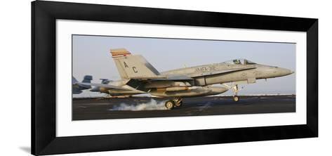 An F/A-18 Hornet Lands Aboard USS Harry S. Truman-Stocktrek Images-Framed Art Print