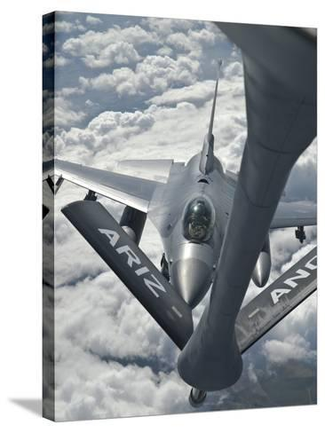 An F-16 from Colorado Air National Guard Refuels from a U.S. Air Force Kc-135 Stratotanker-Stocktrek Images-Stretched Canvas Print