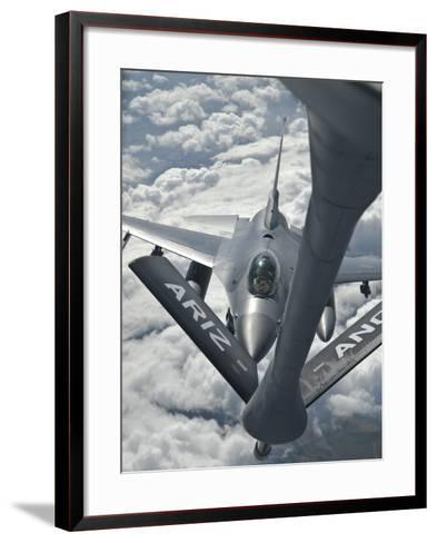 An F-16 from Colorado Air National Guard Refuels from a U.S. Air Force Kc-135 Stratotanker-Stocktrek Images-Framed Art Print