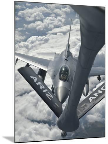 An F-16 from Colorado Air National Guard Refuels from a U.S. Air Force Kc-135 Stratotanker-Stocktrek Images-Mounted Photographic Print