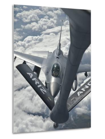 An F-16 from Colorado Air National Guard Refuels from a U.S. Air Force Kc-135 Stratotanker-Stocktrek Images-Metal Print