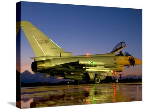 An Italian Air Force Eurofighter Typhoon at Night on Decimomannu Air Base, Italy-Stocktrek Images-Stretched Canvas Print