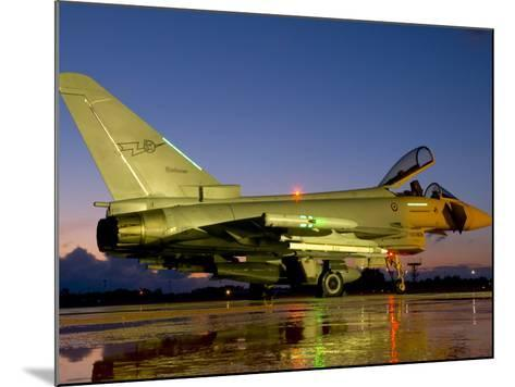 An Italian Air Force Eurofighter Typhoon at Night on Decimomannu Air Base, Italy-Stocktrek Images-Mounted Photographic Print