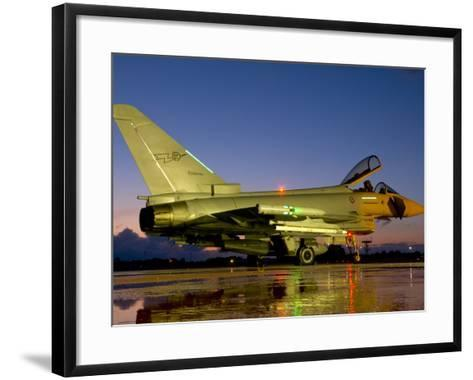 An Italian Air Force Eurofighter Typhoon at Night on Decimomannu Air Base, Italy-Stocktrek Images-Framed Art Print